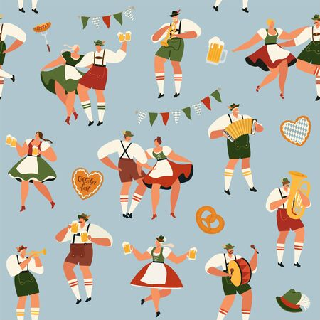 Oktoberfest. Funny cartoon characters in Bavarian folk costumes of Bavaria celebrate and have fun at Oktoberfest beer festival. Party Concept Flat Vector. Seamless pattern.