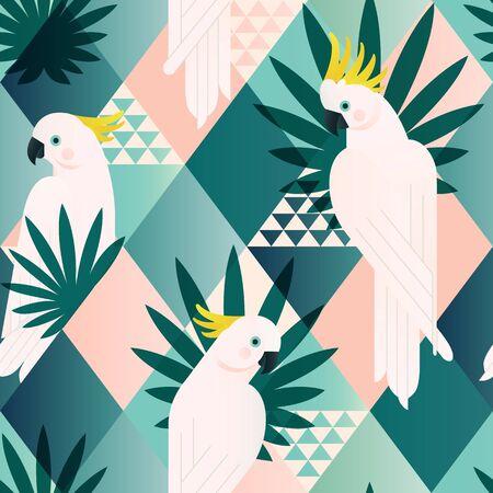 Playa exótica de moda de patrones sin fisuras, patchwork ilustrado vector floral hojas tropicales. Cacatúa de la selva. Mosaico de fondo de impresión de papel tapiz.