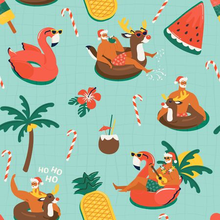 Christmas seamless pattern with cute funny Santa Claus animals with reindeer and flamingo inflatable ring. Tropical Christmas. Vector illustration.
