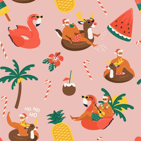 Christmas seamless pattern with cute funny Santa Claus animals with reindeer and flamingo inflatable ring Tropical Christmas. Vector illustration.