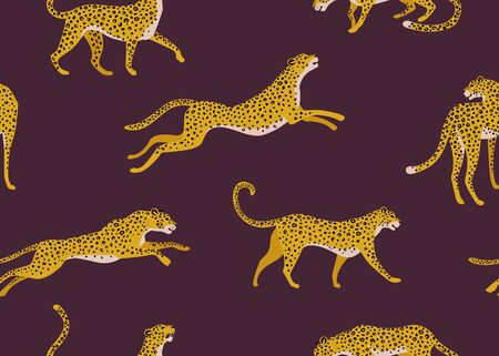 Leopard pattern with tropical leaves. Vector seamless texture. Standard-Bild - 132183520