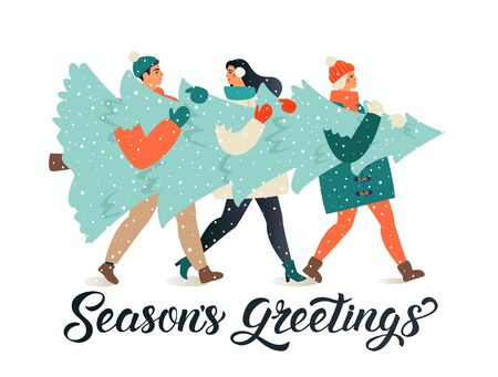 Merry Christmas and Happy New Year greeting card. People group carrying big xmas pine tree together for holiday season with ornament decoration, gifts.