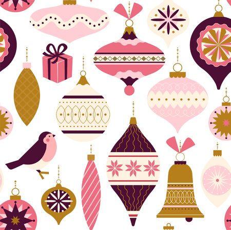 Seamless pattern. Christmas Decor. Can be used for background, wrapping paper, fabric, surface design, cover, and etc. Ilustracja