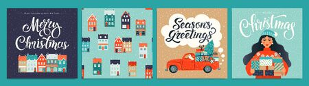 Christmas and New Year Template Set for Greeting Scrapbooking, Congratulations, Invitations, Tags, Stickers, Postcards. Christmas Posters set Vector illustration.
