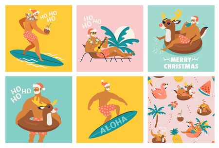 Christmas seamless set of card and pattern with cute funny Santa Claus animals with reindeer and flamingo inflatable ring. Tropical Christmas. Vector illustration. Illustration
