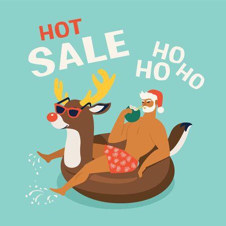 Santa Claus wearing a deer swim ring. Tropical Christmas. Summer Santa. Vector illustration.