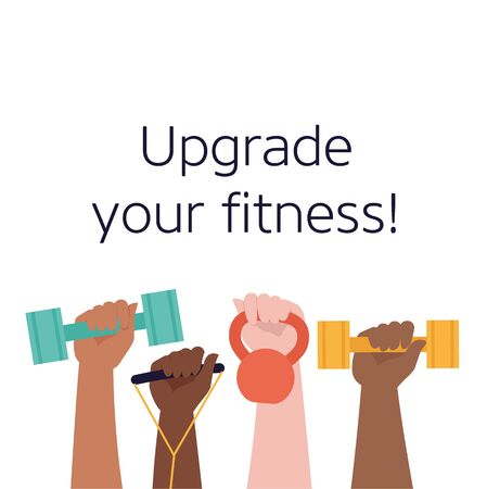 A lot of hands hold dumbbells on sky background and Healthy Lifestyle title. Sport revolution concept. Vector colorful illustration in flat design.