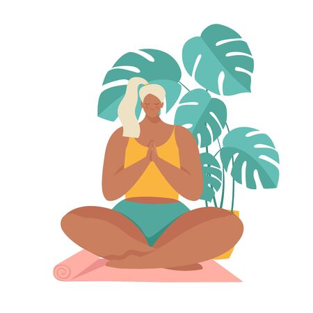 Girl at greenhouse or home garden with plants growing in pots. Relaxed young woman enjoying rest. Girl meditates. Trendy vector illustration in flat cartoon style. Urban jungle. Meditation at Home. Illusztráció