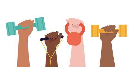 Hands hold dumbbells on white background and Healthy Lifestyle title. Sport revolution concept. Vector colorful illustration in flat design. Illusztráció