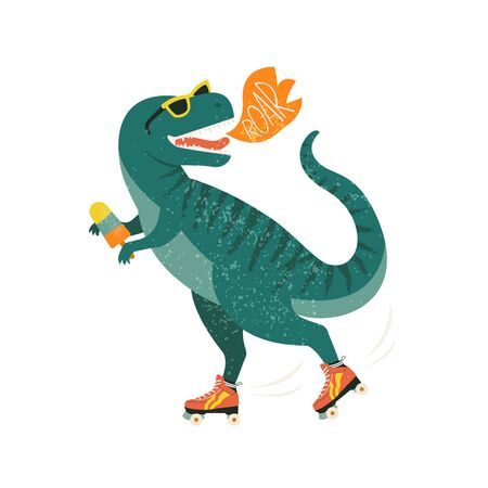 Dinosaur on roller skates with ice cream. Roar. Vector illustration. Vettoriali
