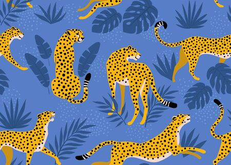 Leopard pattern with tropical leaves. Vector seamless texture.