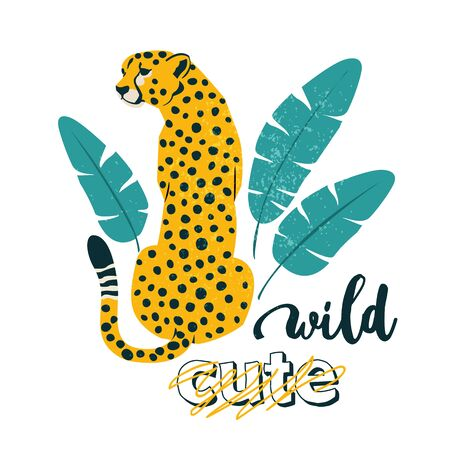 Wild slogan. Leopard. Typography graphic print, fashion drawing for t-shirts. Vector stickers, print, patches vintage.  イラスト・ベクター素材