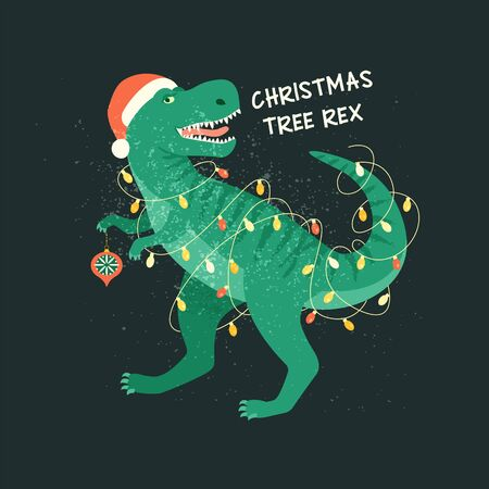Tyrannosaurus Christmas Tree Rex Card. Dinosaur in Santa hat decorates Christmas tree garland lights. Vector illustration of funny character in cartoon flat style Vettoriali
