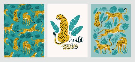 Vector poster set of leopards and tropical leaves. Trendy illustration. 矢量图像