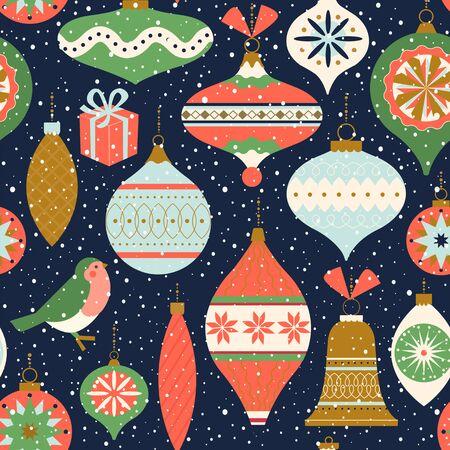 Seamless pattern. Christmas Decor. Can be used for background, wrapping paper, fabric, surface design, cover, and etc Illusztráció