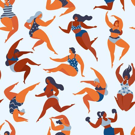 Trendy pattern with girls in summer swimsuits. Body positive. Vector seamless pattern