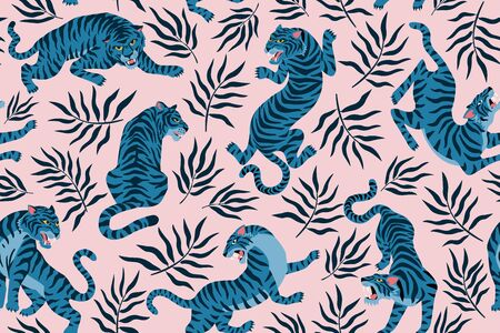 Tigers and tropical leaves. Trendy illustration. Abstract contemporary seamless pattern. Illustration
