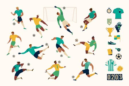 Football soccer player set of isolated characters and modern set of soccer and football icons. Vector illustration.