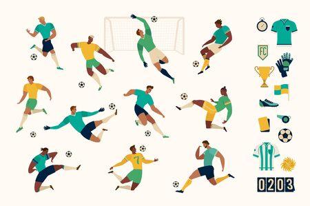 Set di giocatori di calcio di calcio di personaggi isolati e set moderno di icone di calcio e calcio. Illustrazione vettoriale.
