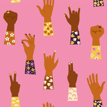 Womans hands with her fist raised up and with various hands gestures. Girl Power. Feminism concept. Seamless pattern.