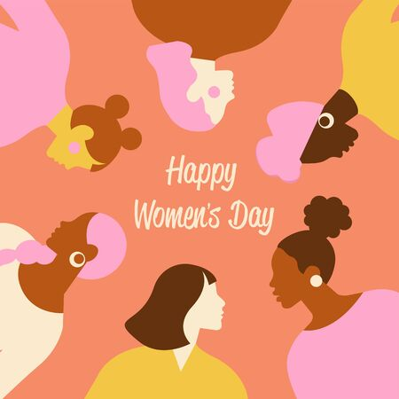 International Women s Day. Vector templates with cute women for card, poster, flyer and other users.