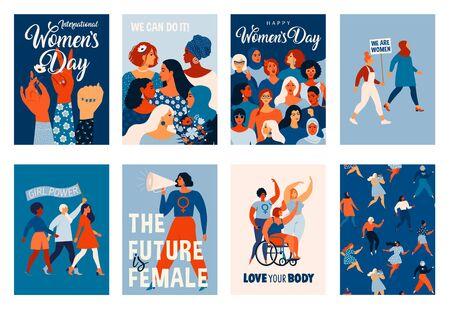Journée internationale de la femme. Modèles vectoriels pour cartes, affiches, prospectus et autres utilisateurs