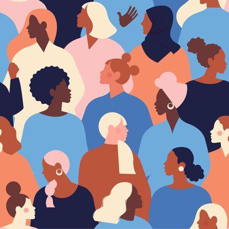 Rostros diversos femeninos de patrones sin fisuras de diferentes etnias. Patrón de movimiento de empoderamiento de las mujeres. Vector gráfico del día internacional de la mujer. Ilustración de vector