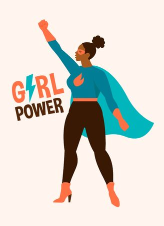 Vector illustrations in flat design of afro american female superheroe in funny comics costume. Girl power concept. Illustration