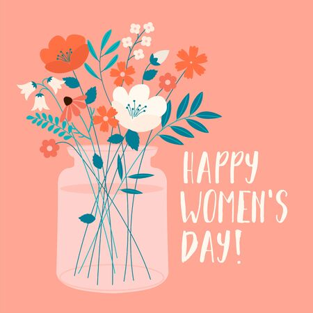 International Womens Day with spring bouquet. Vector template for card, poster, flyer and other users. Illustration