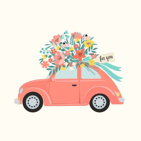 Pink retro toy car delivering bouquet of flowers box on pink background. February 14 card, Valentines day. Flower delivery. 8 March, International Happy Womens Day. Vector illustration Illustration