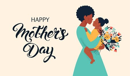 Mother silhouette with her baby. Card of Happy Mothers Day. Vector illustration with beautiful woman and child. Illustration
