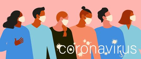 women and men with medical face mask. Concept of  quarantine. The virus is like blots. Vector Illustration. Illustration