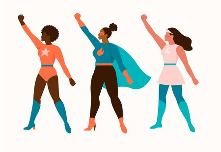 Superheroes women characters. Wonder female hero character in superhero costume with waving cloak disguise fitness female muscular pose game figure. Super girls cartoon vector isolated icon set.