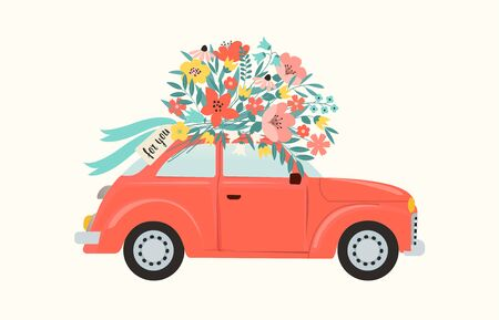 Red retro toy car delivering bouquet of flowers box on pink background. February 14 card, Valentines day. Flower delivery. 8 March, International Happy Womens Day. Vector illustration