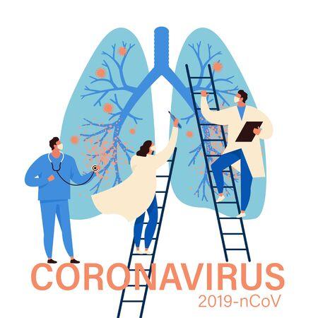 Virus diagnosis and patient treatment abstract concept vector illustration. Coronavirus test kit, coronavirus patient isolation quarantine and treatment, vaccine development abstract metaphor.