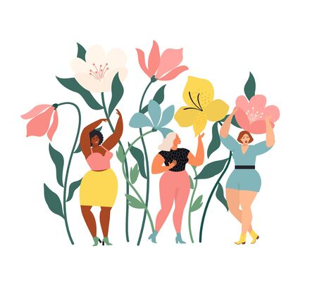 Women diverse of different ethnicity are wonder the huge spring wild flowers. Spring vibes mood. International Womens Day.
