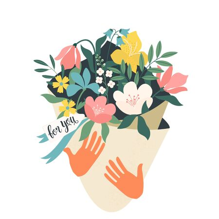 Hands holding bouquet of flowers with a note For you. Vector design concept for Valentines Day and other users. Vector Illustration. Illustration