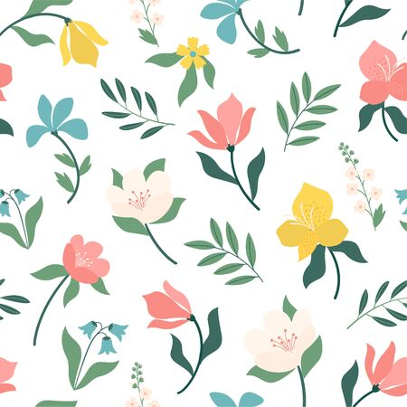 Seamless bright scandinavian floral pattern. Great for fabric, textile. Vector illustration. Illustration