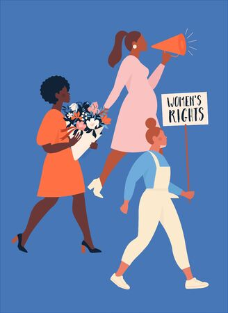 Feminism concept. A group of women of different nationalities protesting and claiming their rights. Womens empowerment. Flat vector illustrations for cards, banners, for the International Womens Day.