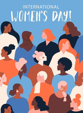 International Womens Day. Vector template with for card, poster, flyer and other users.