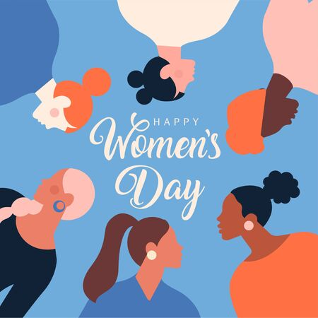 Greeting card or postcard templates with feminism activists and Happy Womens Day wish. Modern festive vector illustration for 8 March celebration. Illustration
