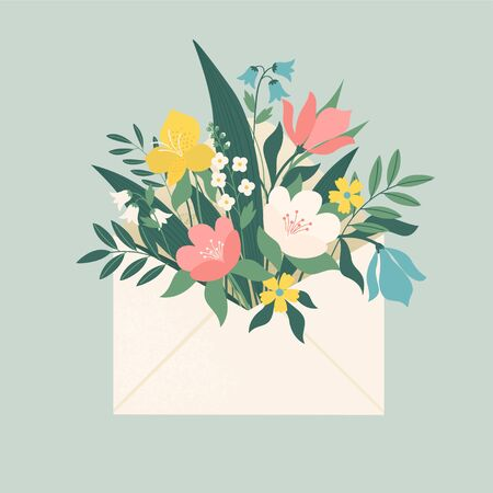 Bouquet of spring flowers inside the envelope and other decor elements. Flat design. Paper cut style. Hand drawn trendy vector greeting card