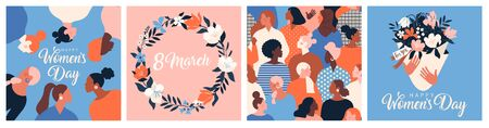 Collection of greeting card or postcard templates with flower bouquet in vase, floral wreath, feminism activists and Happy Womens Day wish. Modern festive vector illustration for 8 March celebration Ilustração