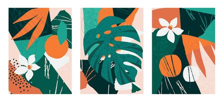Set of collages contemporary floral. Modern exotic jungle fruits and plants illustration in vector. Illustration