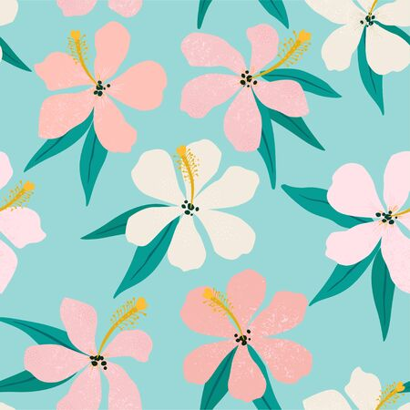 Tropical flowers and palm leaves on background. Seamless.