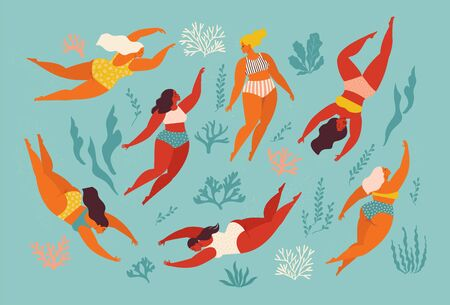 Cute decorative background with swimming women and girl in the sea or ocean. Vector illustration. Underwater artwork design. Swim and dive in sea. Ilustração