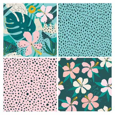 Collage contemporary floral and polka dot shapes seamless pattern set. Illustration