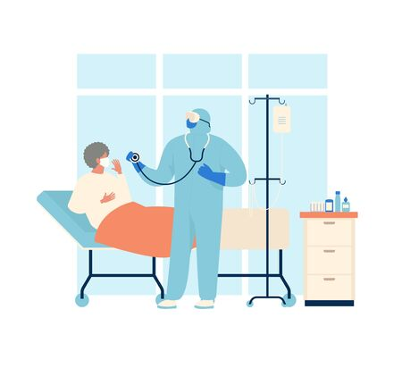 Coronavirus patient is in hospital. Novel coronavirus 2019 nCoV, people in in protective special clothingwhite and medical face mask. Concept of coronavirus quarantine vector illustration Illustration