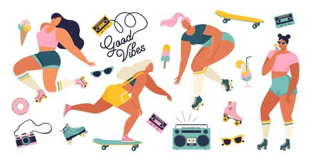 Roller skating girls with record player dancing on the street illustration in vector. Girl power concept poster with inspirational text quote dance, babe