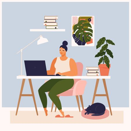 Woman working at her desk at home. She has a lot of work. Woman working with laptop at her work desk and testing ui and ux. Vector illustration of student studying at home. Ilustração
